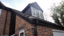 Black ash cladding, fascias and soffits with black guttering