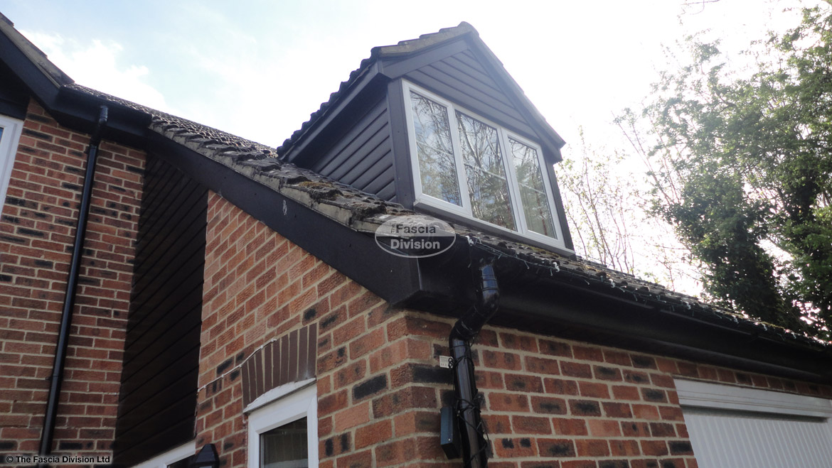 Black UPVC replacement cladding on the dorma