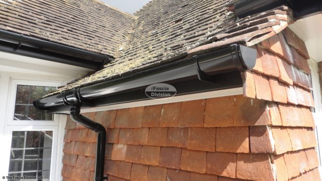 UPVC black deep flow guttering with black UPVC fascia