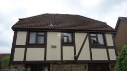UPVC replacement rosewood fascia and soffit with and brown gutters