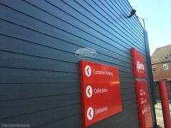 Weatherboard cladding on commercial property