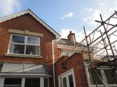 White soffit and decorative fascia white deep flow guttering