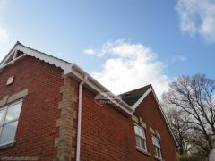 White soffit and fascia, decorative concave bargeboards